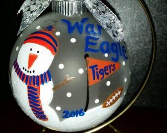 Auburn Tigers hand painted glass Christmas ornament