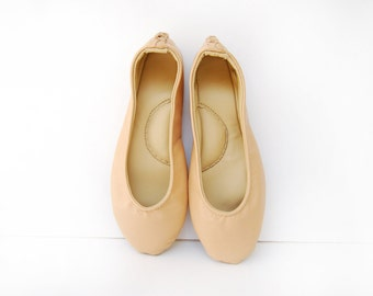 Handmade nude leather ballet flat shoes custom made