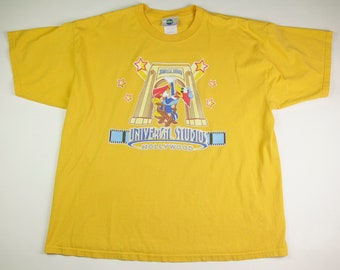 Vintage Woody Woodpecker Universal Studios Hollywood Yellow Tee T-Shirt, Made in Honduras, Adult Size XXL