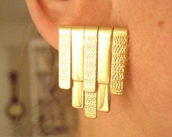 1950's Statement Vintage Gold Tone Pierced Earrings
