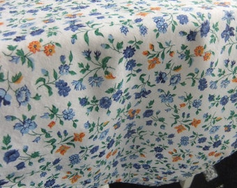 Blue and Golden Yellow Floral on Ivory Background Hemmed Cotton Table Topper