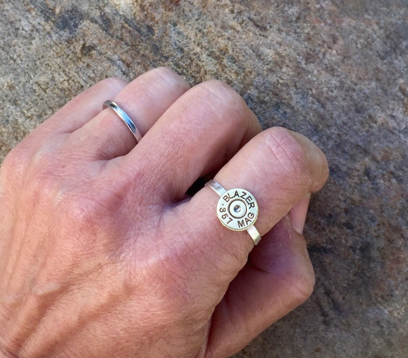 Sterling silver bullet ring bullet jewelry bullet ring NRA