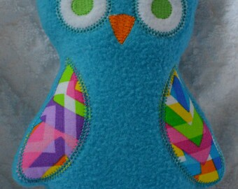 Handmade Stuffed Blue Fleece Owl