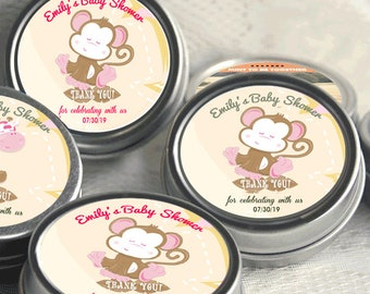 12 Personalized Monkey Baby Shower Mint Tins - Monkey Baby Shower Favors - Monkey Favor - Baby Shower Decor - Safari Jungle Favor