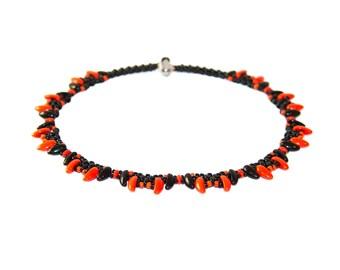 Beaded orange and black chili necklace