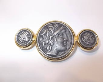 Gold Tone Coin Brooch