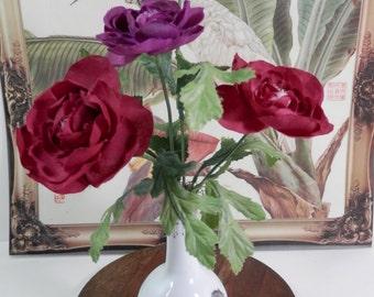 "12"" Chinese Teardrop Silk Flower Bud Vase Centerpiece Asian Style Motif Burgundy Peonie Office Desk Table Teacher Thank You Get Well Gift"