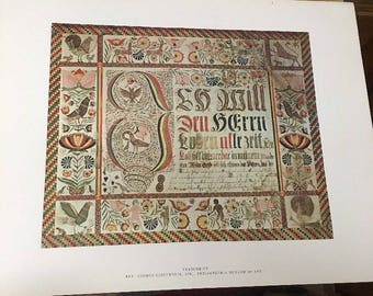 AMERICAN PRIMITIVE WATERCOLOR Print:Vorschrift,By Rev George Geistweite