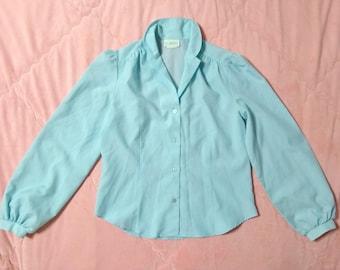 60s Vintage Pastel Blue Blouse, 1960s Vintage Pastel Blouse, 60s Pastel Blouse, Vintage Light Blue Blouse, Pastel Blouse