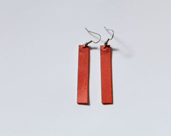 Rectangle Leather Earrings - Coral Pink
