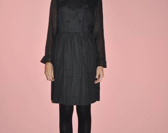 Vintage 70s 80s Black Semi Sheer Soft Ruffle Long Sleeve Little Black Dress S