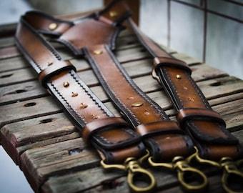 Mens suspenders Brown leather suspenders Wedding suspenders Groomsmen suspenders Leather braces Brown braces