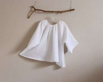 made to order comfy pleated linen top / relaxed linen top / super roomy linen top / pleated neckline linen top / plus size linen /