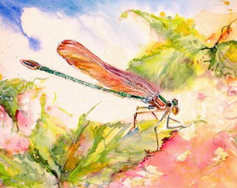 dragonfly garden watercolor art print, dragonfly art print,janice trane jones, wall decor,home decor, 8 x 10 print, abstract dragonfly art