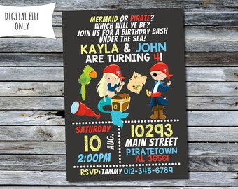 Mermaid and Pirate Invitation / Mermaid Pirate Birthday Invitation / Under the Sea Invitation (Personalized) Digital Printable File