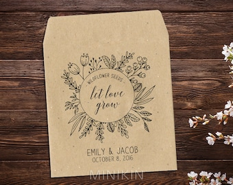 Rustic Wedding Favor Seed Packet Seed Envelopes Seed Favor Wedding Seed Packet Wedding Favor Boho Wedding Let Love Grow Seed Packets x25