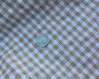 TAN and WHITE Check Cotton Fabric Yardage 45""