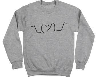 Shrug Lol Idk Face Funny Internet Meme Geek Crewneck Sweatshirt DT1318