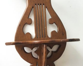 Unique wood wall shelf harp 18 inch tall vintage