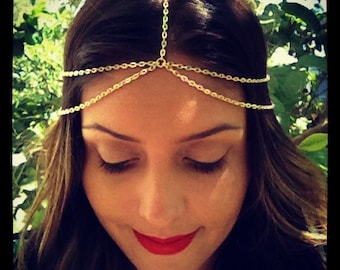 Thin Double Strand Head Chain, Boho hair, Coachella, hipster, hippy, Gold or Silver Adj Headchain