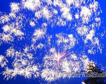 Blue Abstract Photography | Indigo Aqua Fireworks Photo Art | Bright Flashes Pic | Independence Day Celebration Decor | Fire Works Art Print
