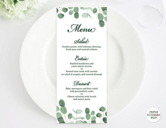 Eucalyptus Wedding Menu Template Leafy Menu