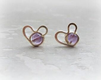 Valentines Day, Heart Stud Earrings, Amethyst Earrings, Heart Earrings, February Birthstone, Gold Heart Studs, Amethyst Stud Earrings