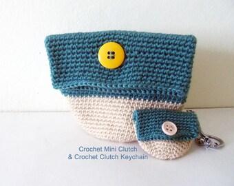 Crochet  Mini Clutch & Crochet Clutch Keychain, crochet gift, crochet accessories