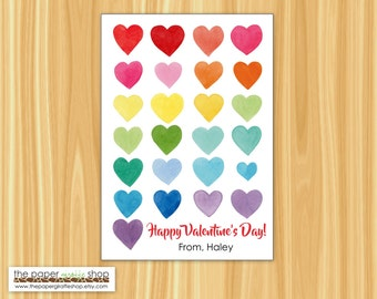 Heart Valentine Cards | Rainbow Hearts Kids Valentine Cards | Classroom Valentines | Valentines Day Cards | Rainbow Hearts Valentine Cards