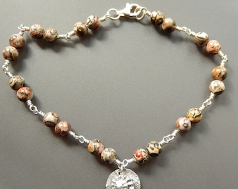 Sterling Silver and Leopardskin Jasper Anklet Ankle Bracelet with Fine Silver Button Shell Charm