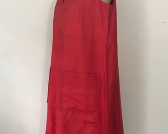 70s HALSTON red raw silk TRAPEZE tent shift dress w pockets 1970s vintage 12