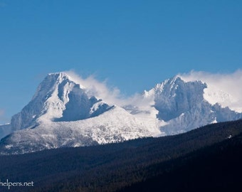 Mountain's Breath, Snowcapped Peaks, Edwards Mountain, Gunsight Mountain, Glacier National Park, Photograph or Greeting card