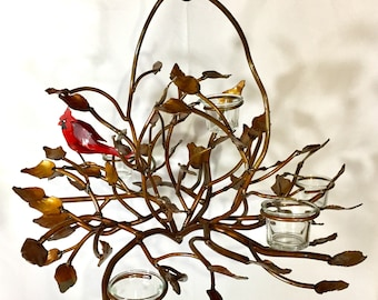 Metal Twig candle Chandelier with bird and leaves