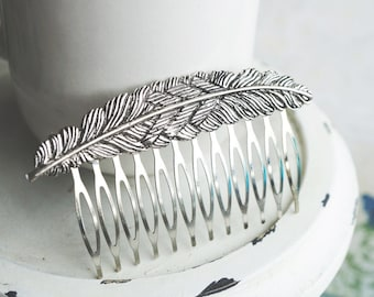 Hair Comb, silver feather hair comb