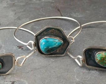Turquoise and Sterling Silver Tension Bracelet