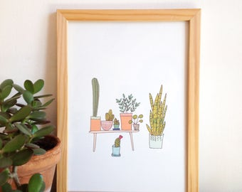 Plants, Cactus poster, art print, urban jungle illustration, plants, succulents, cactus, posters for plant lovers, House plants Collection
