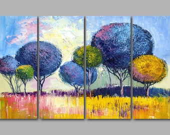 XL Abstract Colourful Trees in a Field Modern Artwork Painting 4 Panel Split Canvas Picture