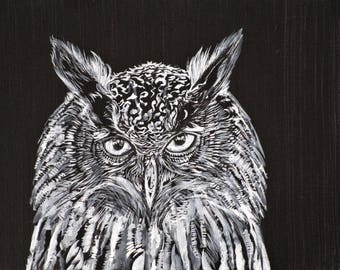 WHAT the OWL SEES - original acrylic painting - one of a kind!