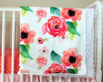 Floral Dreams baby blanket, Girly coral Minky blanket, Modern floral baby blanket, Baby Girl Floral Blanket, Crib skirt, fitted sheet avail.