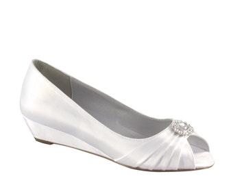 Wedding Shoes - Custom Colors 120 - Women's PBD101 Bridal Wedge Shoes
