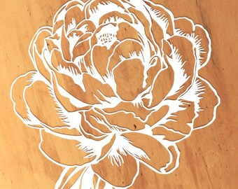 "Original Peony Papercut Art: 8x10.5"" original white flower cut out, paper flowers wall art for girl, 2D modern mixed media silhouette"