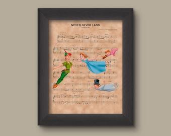 Peter Pan, Wendy, Tinker Bell, Michael, John Neverland Sheet Music Art Print