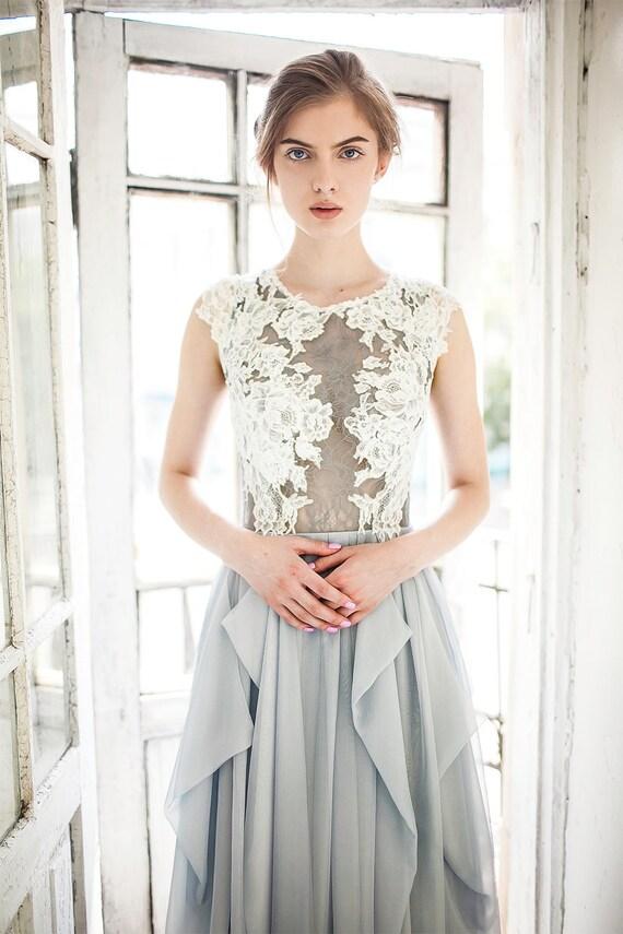 Hochzeitskleid grau / / Iris / blau grau Seide Brautkleid