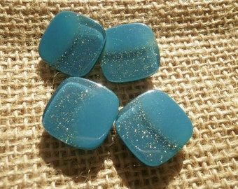 Set of 4 buttons plastic square, green blue color with a glittery side, size 16 mm