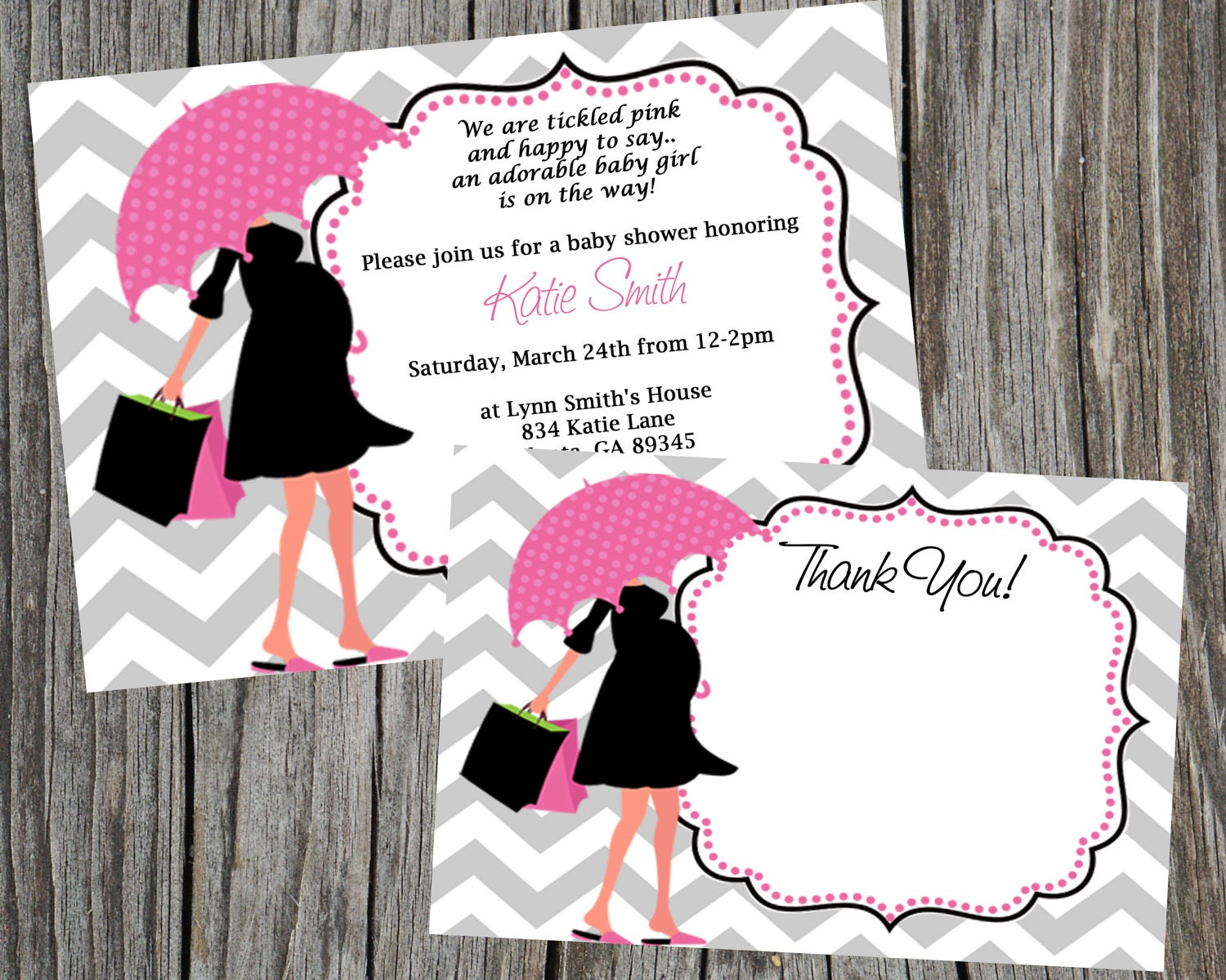 Combo special modern mom baby shower invitation and thank you zoom filmwisefo