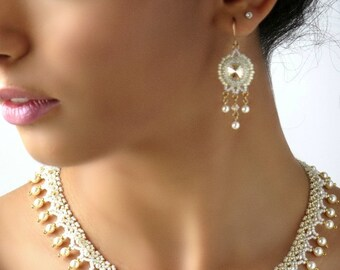 Chandelier wedding earrings, Champagne crystal earring, Pearl chandelier earrings, Wedding pearl earrings, Swarovski bridal earrings
