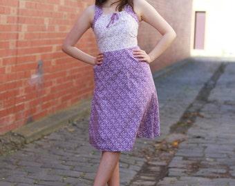 Vintage 1970s Purple Floral Sundress | Cotton Sundress | White Floral Sundress | S