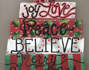 Joy love peace believe Christmas wood sign ready to ship as shown on a wire to hang on front door