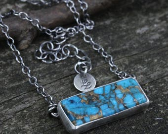 Kingman turquoise bar necklace / sterling silver bar necklace / copper turquoise / gift for her / jewelry sale / turquoise necklace / boho