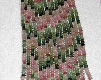 Tourmaline, Multicolor Rondelle, Faceted Rondelle, Tourmaline Bead, Semi Precious, Gemstone Bead, Sparkle, Half Strand, No7, 5-6mm
